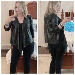 IMAGINARY VOYAGE NWT open sequin cardigan